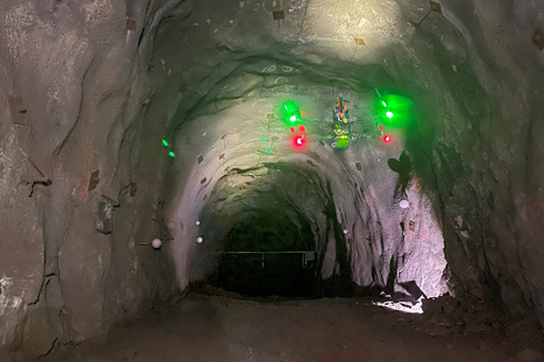 Autonomous Drone developed by Hovering Solutions preforming an autonomous visual inspection of mining infrastructures